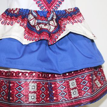 Dashiki tiered skirt, Memorial day, 4th of July, summer skirt-Patriot