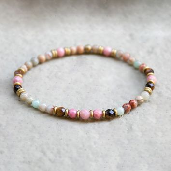 Serpentine and Rhodochrosite Delicate Bracelet