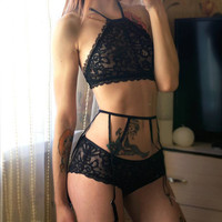 Sexy black lace high neck top lingerie set with garter belt