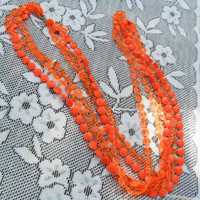 Vintage 60s Necklace Earring Set BRIGHT Neon Orange Beads