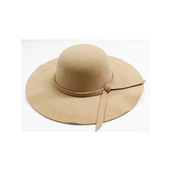 Womens Wide Brim Camel Floppy Felt Hat with Matching Tie