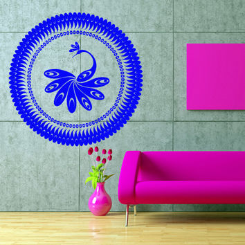Wall decal art decor decals sticker peacock bird beauty tail feather bedroom design mural (m924)