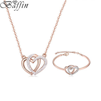 2017 New Jewelry Sets Austria Crystals Heart Pendant Necklace Bracelets For Women's Day Gifts Brand Wedding Accessor