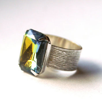 Octagon Rhinestone Ring Faceted Vintage Vitrail Glass in a Brushed Silver Tone Adjustable Wide Band