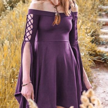 Purple Pleated Swallowtail Off Shoulder Lace-up High Waisted Retro Cute Country Midi Dress
