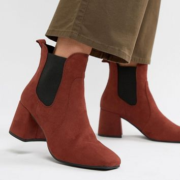 New Look Heeled Square Toe Ankle Boot at asos.com