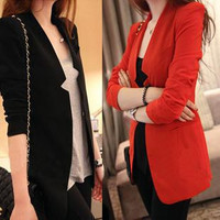 Free shipping2014 women's autumn long paragraph Korean version of Slim casual clothes suit jacket shrug shoulder pads