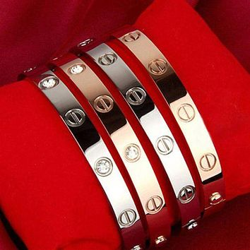 """Cartier"" Personality Couple Simple Rose Gold Bracelet Screw Bracelet Lovers Bracelet I"