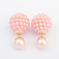 Double Side  Imitation pearl earring