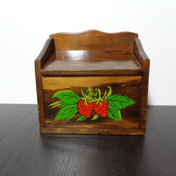 Vintage Wooden Recipe File Box/Kitchen Storage Box with Strawberries on Front