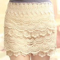 FloralGarden — Sweet Lace Cake Mini Skirts