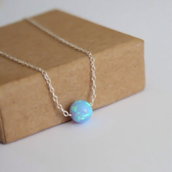Opal necklace, opal ball necklace, opal silver necklace, opal charm, tiny dot necklace, opal bead necklace, dot necklace, blue opal