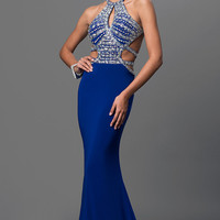 Open Back Floor Length Dress with Jeweled Bodice