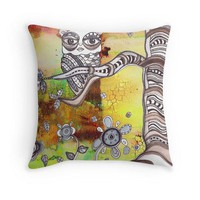 Art Throw Pillow 'Surreal Owl III'