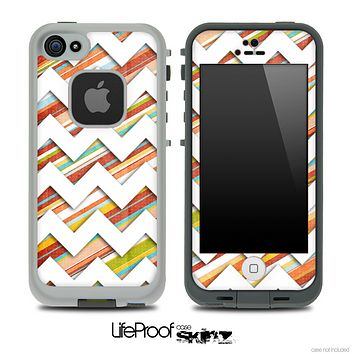 Vintage Color Striped V2 and White Chevron Pattern Skin for the iPhone 5 or 4/4s LifeProof Case