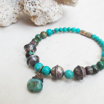Primitive genuine turquoise beaded bracelet, tribal silver pewter beads, peruvian opal, ancient old world czech glass artisan jewelry
