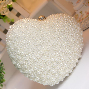 Large love white/ivory pearl heart day clutch bag evening party bag  woman clutch girl wedding bag bridal handbags