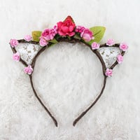 Dark Pink Floral Lace Cat Ears - Flower Lace Cat Headband - Cat Ears Headband - Kitty Ears - Coachella Festival - Kitten play Ears - Petplay