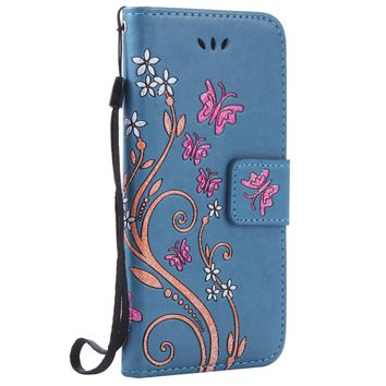 For iPhone 7 7 Plus Case Coloured Drawing Pattern Embossed Butterfly Leather Wallet  Flip Stand Cover Mobile Phone Shell