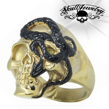 Gold-Tone 'Here I Go Again' Stainless Steel Skull Ring (075Gold)