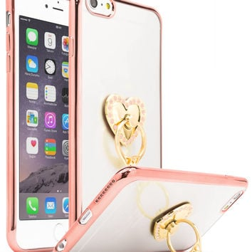 Ultra Thin Clear Luxury TPU Rose Gold Bumper Case Cover with Attachable Heart Pink Diamond Ring Holder for Apple iPhone 6 Plus/6s Plus