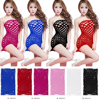 Female Women Erotic Porn Sexy Lingerie Fishnet Seamless Crotch Mini Dress Body Stocking Nightwear Nightdress Nightie Costumes