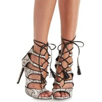 Nude Combo Lace-Up Python Print Gladiator Heels by Charlotte Russe