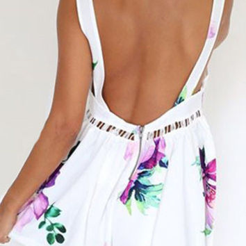 White Backless Romper with Holes