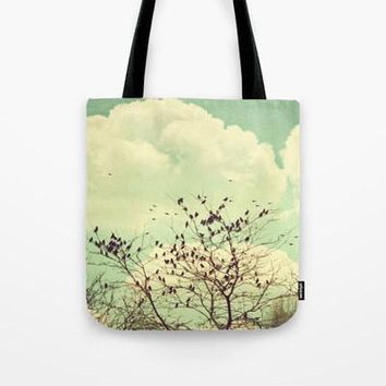 Art Tote beach bag Birds of a Feather photography Tote Bag mint green sky nature photograph bird brown tree branches vintage style photo