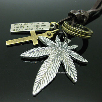 leather necklace with maple leaf pendant women leather necklace men leather necklace  P006