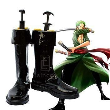 Anime One Piece After Two Years Roronoa Zoro Cosplay Halloween Party Shoes Black Boots