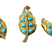 Turquoise Rhinestone Brooch Earrings Set