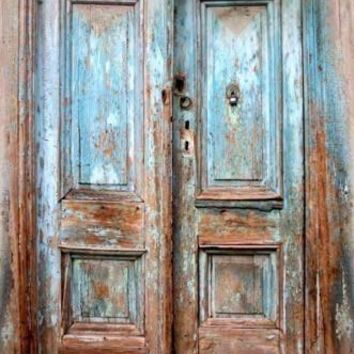 BLUE RUSTIC VINTAGE DOORS PRINTED PHOTOGRAPHY Backdrop 5x6 - LCPC1062 - LAST CALL