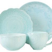 4-Pc Peacock, Turquoise Dinnerware Set, Place Settings