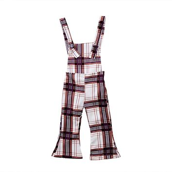 Infant Kids Girl Baby Clothing Sleeveless Backless Cotton Plaid Casual Bib Rompers Pants Clothes Overalls Clothes Girl 1-5T