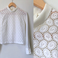 White Crepe Vintage Blouse - Mod Retro - 60s Blouse - 1960s Lace Blouse - Exc Cond - Medium Large