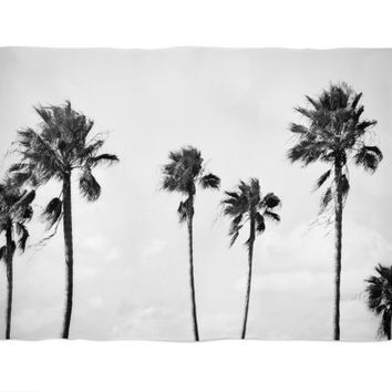 Black Palms - Fleece Blanket, Beach Surf Style Coral Fleece Throw Cover Accent, Tropical Palm Trees Coastal Home Decor. 30x40 50x60 60x80 in