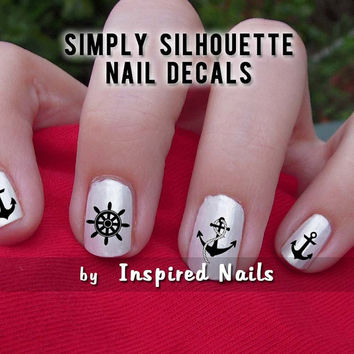 Nautical Anchor and Captain's Wheel Nail Decals Black and Clear Simply Silhouette by Inspired Nails