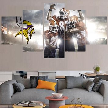 Rugby ball Logo Paintings Minnesota Vikings Modern Home Decor Living Room Bedroom Wall Art Canvas Print Painting Calligraphy