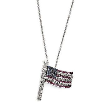 Cheryl M Sterling Silver CZ, Ruby, Sapphire USA Flag Necklace