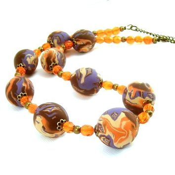 Polymer Clay Necklace, Orange Purple and Brown Necklace, Handcrafted