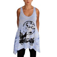 Blue Burnout Slub Tunic Tank with Moon Wolf Screen Print -Large