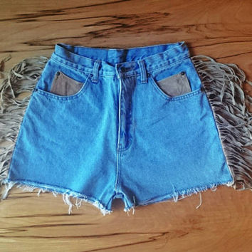 Highwaisted Vintage 80s 90s Fringe Leather Denim Shorts Studded Vintage coachella festival babe highwaist
