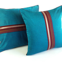 Vintage Ethnic Textile Pillow, Light Blue Plush Throw Pillow Covers, Gift for her 50th birthday