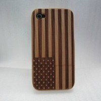 Hanicase (TM) American Flag Cherry Wooden Back Case Cover For iphone 4G 4S with Hanicase Design Stylus Pen