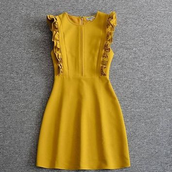 Chanel Yellow Frilly sleeveless Dress Wedding guest dress