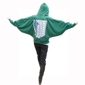 DCCKH6B Attack On Titan Costumes Anime Cosplay Bat Hoodie Shingeki No Kyojin Sweatshirt Green Loose Hoodie Man Women