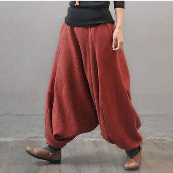 Women  autumn and winter cotton linen thickened pants