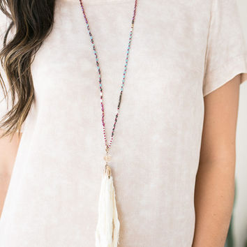 Time to Travel Tassel Necklace