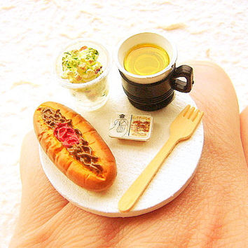 Kawaii Food Ring Lunch At The Office Green Tea by SouZouCreations